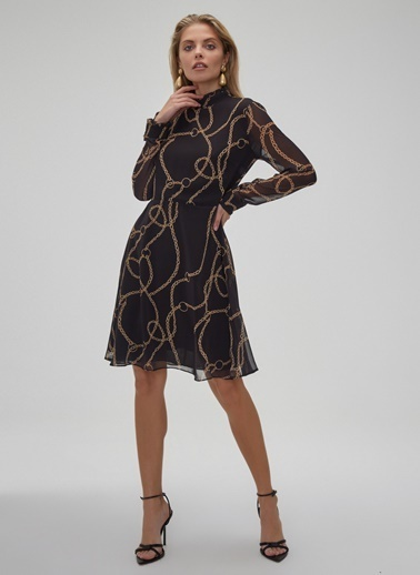 People By Fabrika Zincir Desenli Elbise Siyah